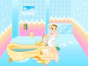 Aline prend un bain