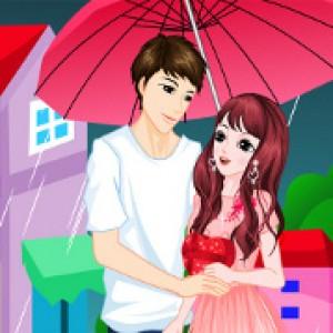 Romantic rainy valentin