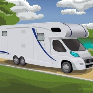 Camping forest parking